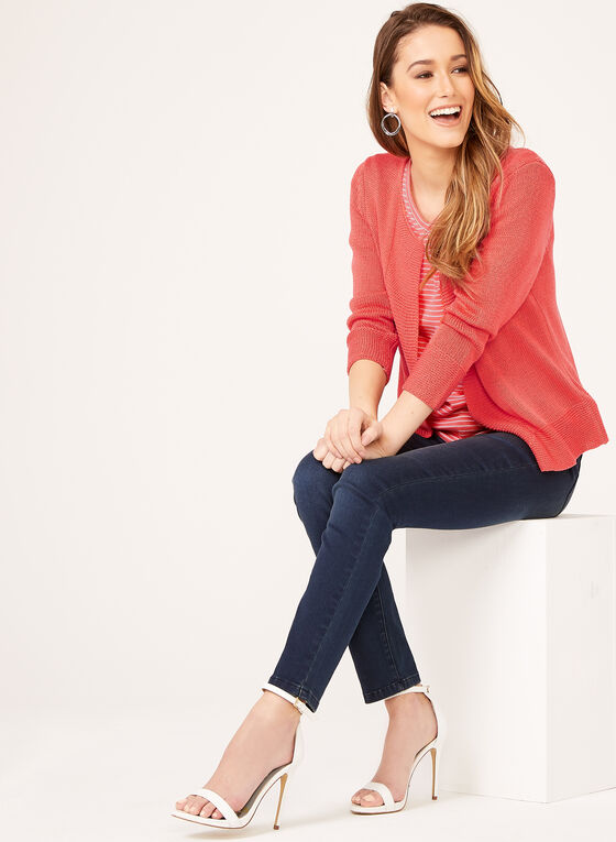 Alison Sheri - Cardigan ouvert en maille tricotée, Orange, hi-res