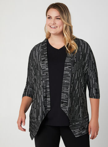 Jacquard Knit Open Front Top, Black,  satin cardigan, edge-to-edge cardigan, blazer