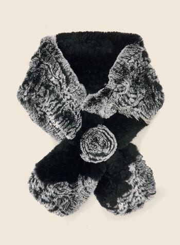 Foulard en fourrure de lapin , Noir,  foulard, col, écharpe, fourrure, lapin, facile à enfiler, automne hiver 2020