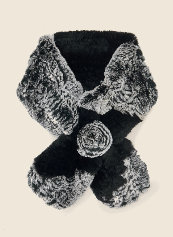 Rabbit Fur Pull-Through Scarf, Black