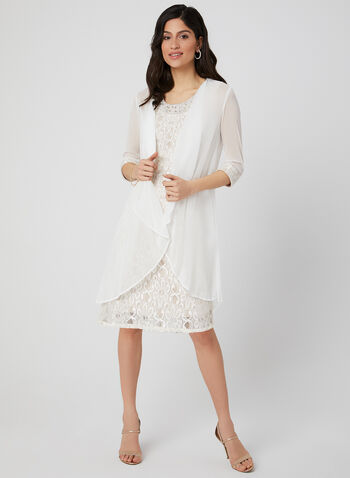 Glitter Lace Dress & Duster, Off White, hi-res,  sleeveless, mesh duster,  2-piece, daisy lace, chiffon, spring 2019