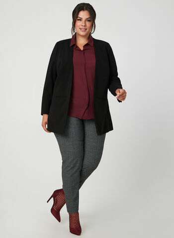 Open Front Crepe Blazer, Black,  long sleeves, crepe, open front, fall 2019, winter 2019