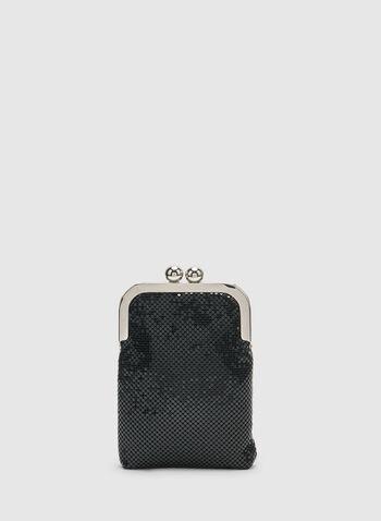 Minaudière métallisée à fermoir clic-clac, Noir, hi-res