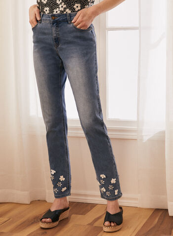 Floral Appliqué Straight Leg Jeans, Blue,  jeans, denim, straight leg, floral, appliqué, spring summer 2021