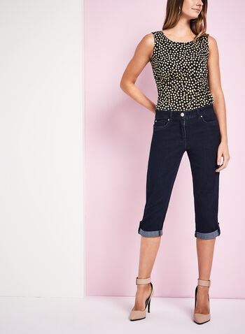 Modern Fit Crystal Detail Capri Pants, Blue, hi-res
