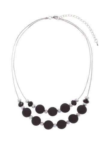 Contrast Double Row Necklace, Black, hi-res