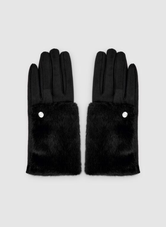 Crystal Embellished Faux Suede Gloves, Black