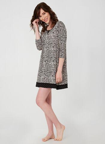 René Rofé - Animal Print Nightgown, Brown,  René Rofé, nightgown, sleepwear, animal print, fall 2019, winter 2019