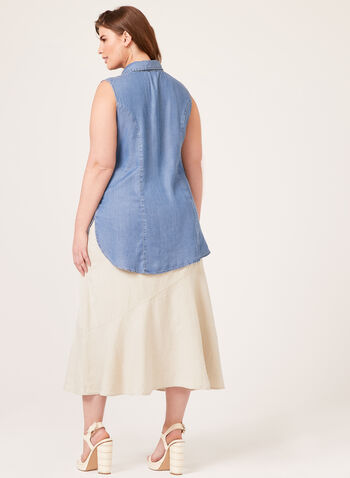 Lily Moss - Chemisier sans manches aspect denim, Bleu, hi-res