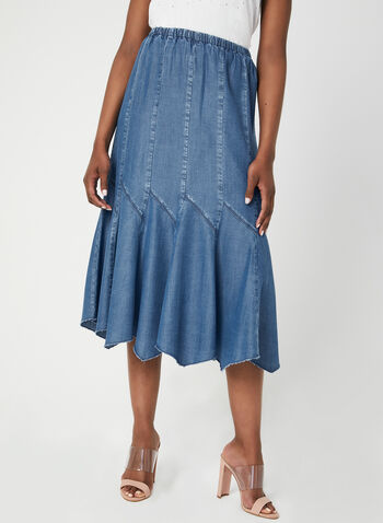 Linea Domani - Gored Maxi Skirt, Blue, hi-res,  denim-like, frayed hem, pull-on, long skirt, spring 2019