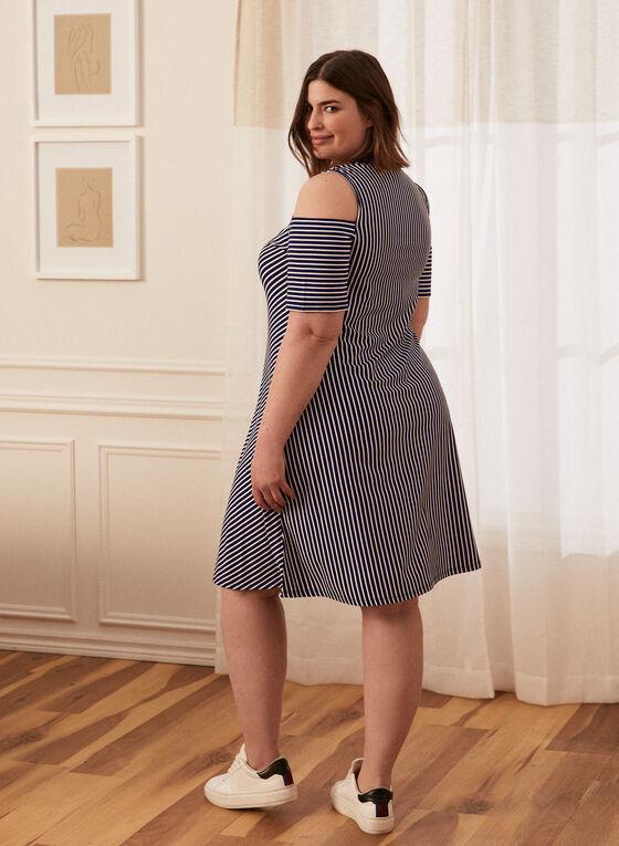 Stripe Print Trapeze Dress, Blue