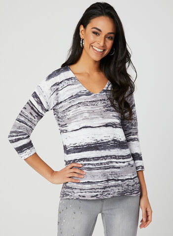 Elena Wang - Abstract Print Sweater, White, hi-res