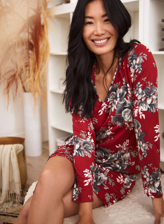 Floral Robe & Nightgown Set, Red