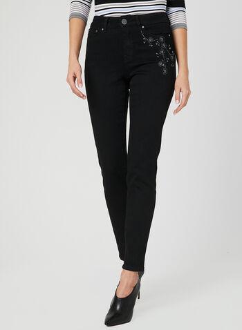 Embroidered Slim Leg Jeans, Black, hi-res,