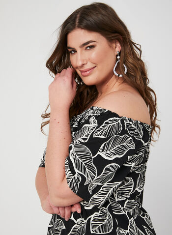 Leaf Print Off-the-Shoulder Top, White, hi-res,  short sleeves, summer 2019, stretchy