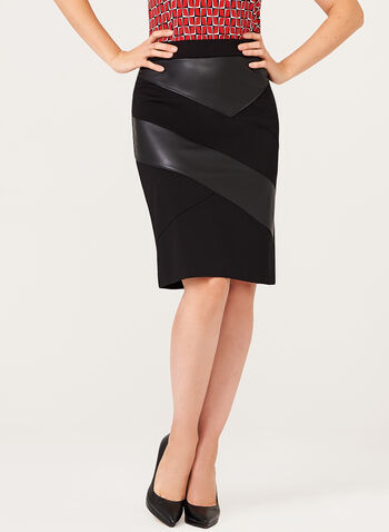 Leather Trim Pencil Skirt, Black, hi-res