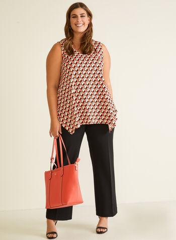 Geometric Print Sleeveless Top, Red,  top, v-neck, short sleeves, geometric, sharkbite, crepe, spring summer 2020