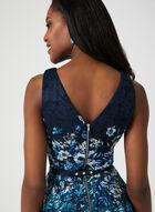 Robe en dentelle motif fleurs et ceinture, Bleu, hi-res