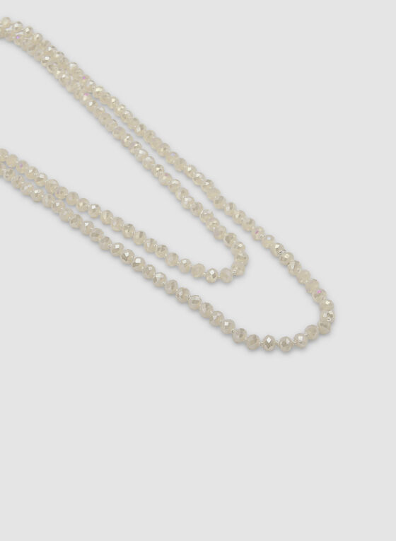 Multi-Row Beaded Necklace, White, hi-res