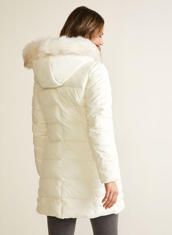 Vegan Down Asymmetrical Coat, Off White
