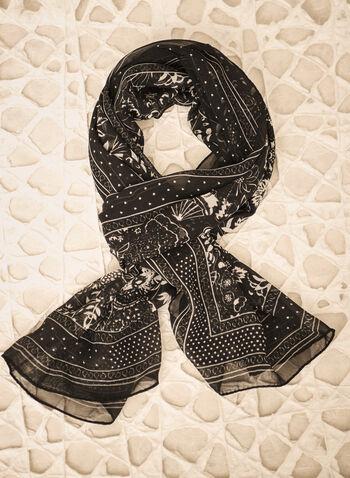 Foulard à motif de fleurs et pois, Noir,  automne hiver 2021, accessoires, foulard, écharpe, floral, fleur, pois, léger, chiffon, crêpe
