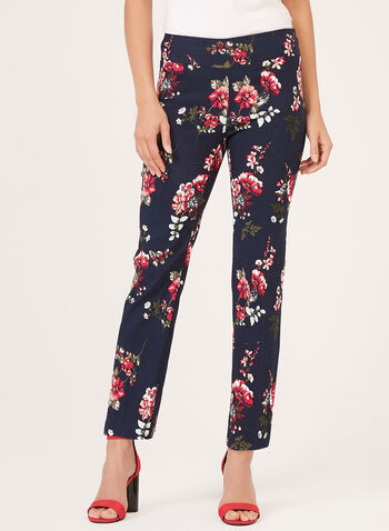 Floral Print Pull-On Bengaline Pants, Blue, hi-res
