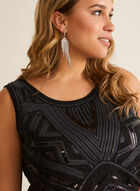 Sequin Embellished Sleeveless Top, Black