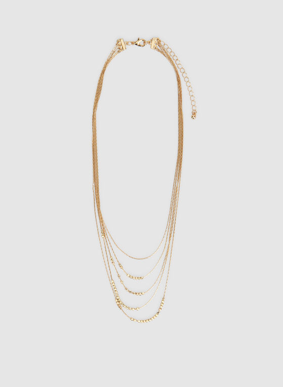 Multistrand Metal Necklace, Gold