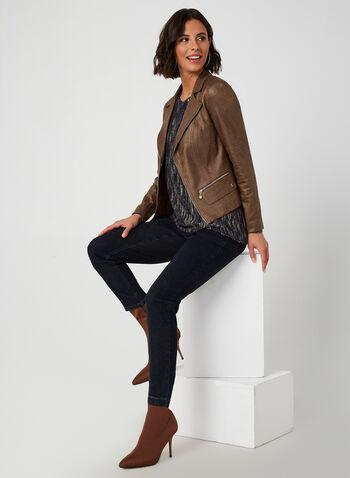 Vex - Veste aspect cuir à détails de zips, Brun, hi-res,  automne hiver 2019, veste, similicuir, faux cuir, zip, fermeture à glissière, manches longues
