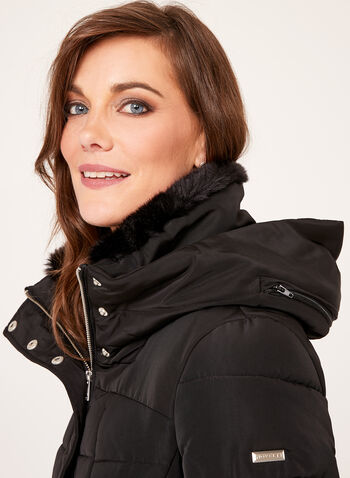 Novelti - Quilted Faux Fur Collar Coat, Black, hi-res