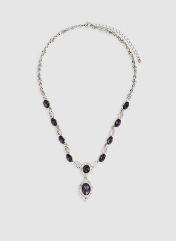 Stone Faceted Crystal Necklace, Purple, hi-res,  crystal necklace, stone necklace