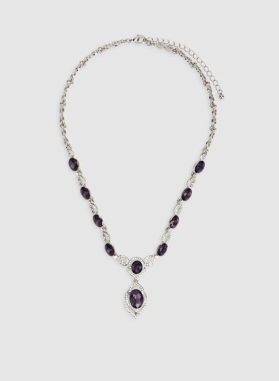 Collier court à cristaux et pierres facettées, Violet