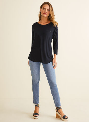 Satin Detail T-Shirt, Blue,  t-shirt, boat neck, 3/4 sleeves, faux pocket, satin, slits, stretchy, spring summer 2020