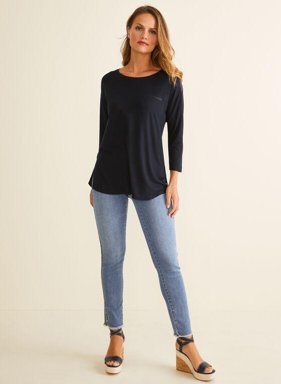 T-shirt à détails satinés, Bleu
