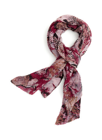 Abstract Print Oblong Scarf, Red, hi-res