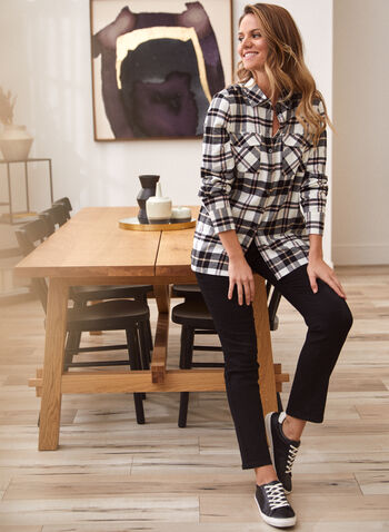 Plaid Print Button Front Shirt, White,  fall 2021, top, tops, shirt, blouse, button front, button down, shirt collar, long sleeves, tightened, cuffs, closure, patch pockets, flap, studded, stud details, rhinestone, plaid, print, pattern, comfy, stretchy
