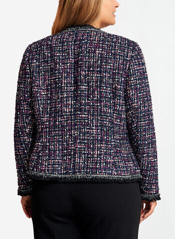 Fringe Trim Tweed Jacket, Blue, hi-res