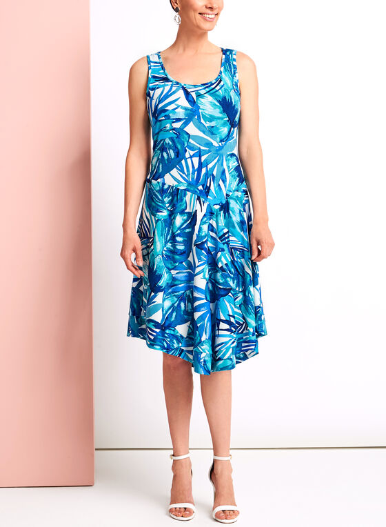 Palm Print Asymmetric Midi Dress, Blue, hi-res