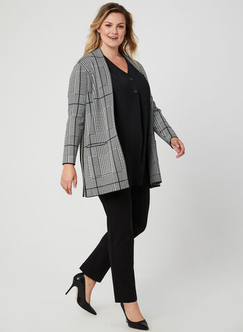 Elbow Sleeve Tunic Blouse, Black, hi-res,  tunic, elbow sleeves, crepe, buttons, fall 2019, winter 2019