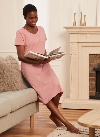 Stripe Print Nightgown, Red,  pyjamas, nightgown, stripe print, short sleeves, scoop neck, spring summer 2021