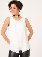 Asymmetric Layered Crepe Top, Off White, hi-res