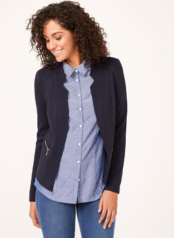 Vex - Open Front Knit Jacket, Blue, hi-res