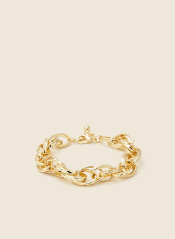 Oval Chain Link Bracelet, Gold,  jewellery, bracelet, chain, link, metallic, hammered, golden, fall winter 2020