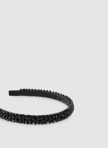 Thin Pearl Embellished Headband, Black,  headband, beads, pearls, satin, satin headband, fall 2019, winter 2019