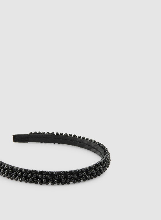 Thin Pearl Embellished Headband, Black