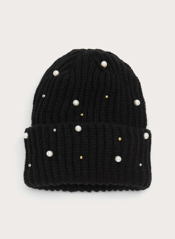 Faux Pearl Beaded Knit Hat, Black, hi-res