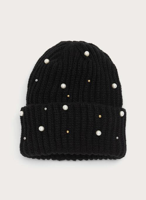 Faux Pearl Beaded Knit Hat, Black, hi-res