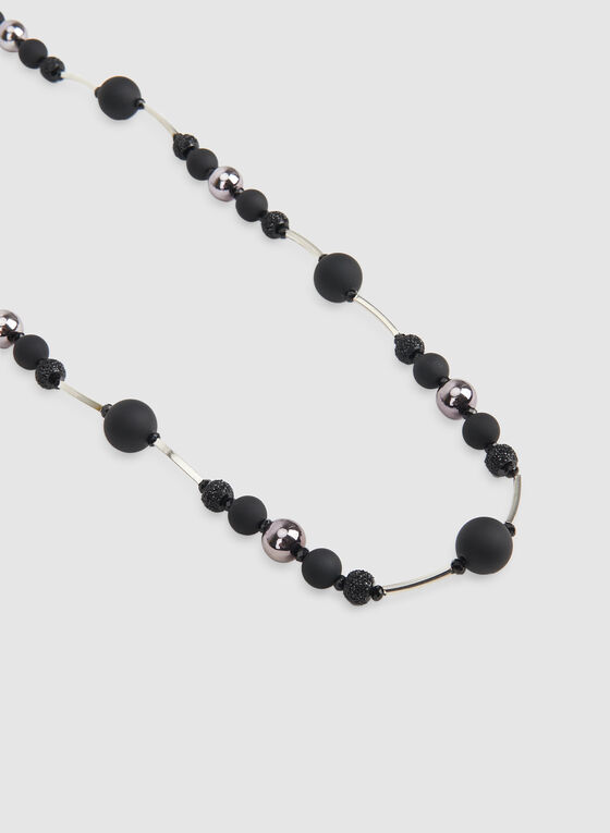 Collier long à boules, Noir