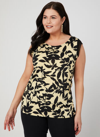 Leaf Print Top, Yellow, hi-res,  Spring 2019
