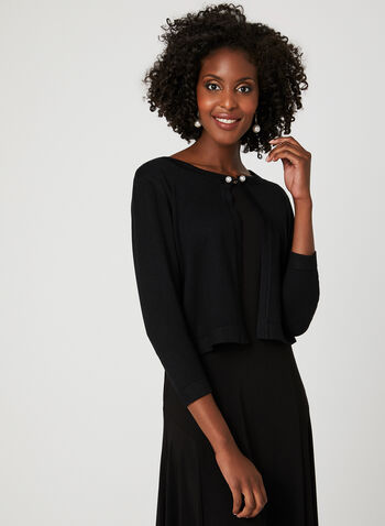 Nina Leonard – Pearl Clasp Knit Bolero, Black, hi-res